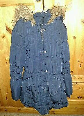 Girls age 8-9 snuggly navy winter coat