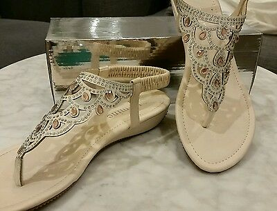 Gorgeous Summer Low Wedge Sandals Shoes - Jewelled Bling 7.5 - 8 / 38