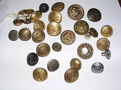 Vintage Brass Military & Other Buttons Job Lot Railway Unknown Buttons
