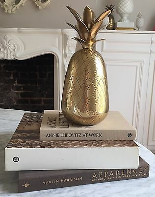 "Large 12"" Retro BRASS Gold PINEAPPLE Hollywood Regency Maison Jansen Charles"