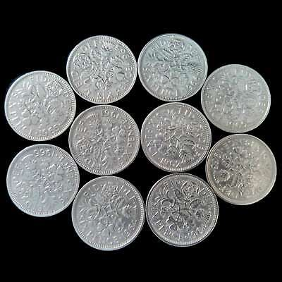 10x Lucky Sixpence Coins Bulk Lot Cleaned Polished ** Free P&P **