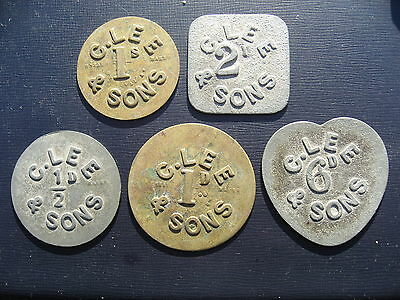 C Lee & Sons - R Neal Shilling, Sixpence, Twopence, Penny & Halfpenny tokens.