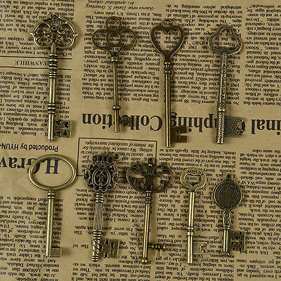 9X Antique Key Large Skeleton Retro Vintage Charms Pendant Old Look Jewelry UK