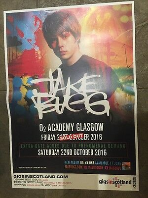 Jake Bugg - Rare Gig poster ,Glasgow, Oct 2016 On My One