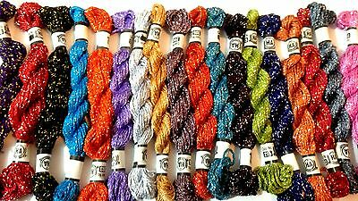 18 x New 100% Original Metallic Hand Embroidery Thread Skeins With Best Colours