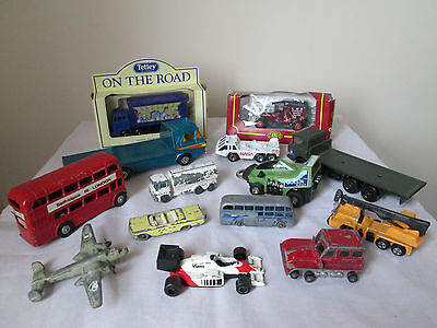 Job Lot Of 14 Diecast Model Cars Various Sizes And Makers.