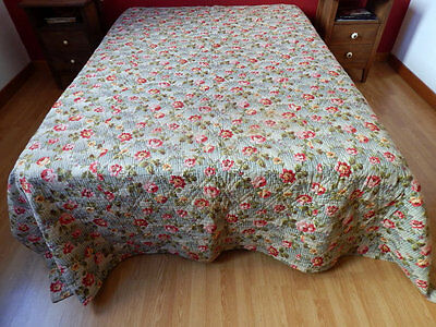 French Boutis/Vintage Quilt Provencal Traditional Cotton Prints Exception Size.