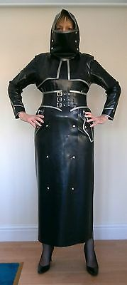 "Original ""sealwear"" Coat Dress - Black Latex With Silver Trim"