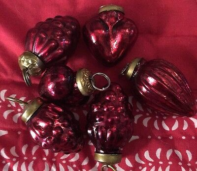 Holiday 6 Red Glass Small Hanging Ornaments 2 Inches Length Each