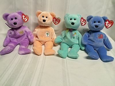 Ty Beanie Babies Lot Of 4 Bears * Ariel, America, Yours Truly, & Dearest