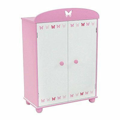 18 Inch Doll Furniture | Beautiful Pink and White Armoire Closet with Butterf...