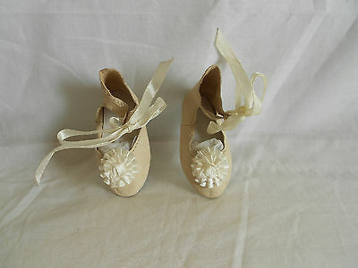 "Ivory  Leather doll shoes,Handmade, for Antique dolls, 2.7"" Sole"