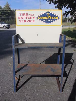 Vintage & Rare GOODYEAR TIRE & BATTERY Rack Display w/ SIGN Gas Station Oil