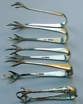 Five Pairs Of Hallmarked Solid Silver Sugar Tongs
