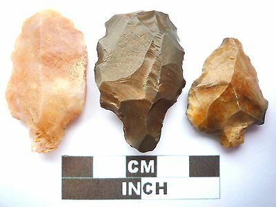 Paleolithic Arrowheads x 3, Saharan Artifacts, 70,000-30,000BC  (T029)