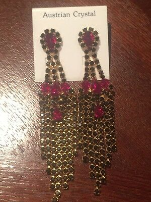 Women's Austrian Crystal Earrings - Black, Red And Gold- Ideal Stocking Filler