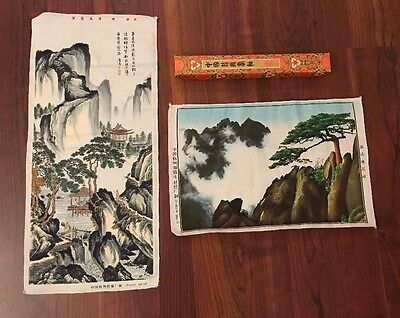 Vintage Chinese Silk Tapestry From Hangzhou China Landscapes ~ Lot Of 2