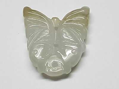 46.40 Carats~Beautiful Natural Light Green Hand Carved Twin Fishes Jade Pendant