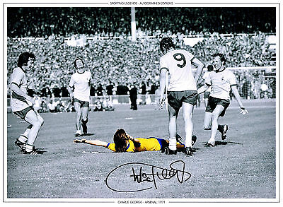 CHARLIE GEORGE ARSENAL FC HAND SIGNED PHOTO AUTHENTIC GENUINE + COA - 16x12