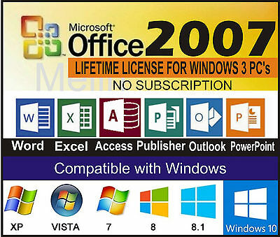 Microsoft Office 2007 Word/Excel/Outlook/Pub/Access/ 3 PC  DVD full version