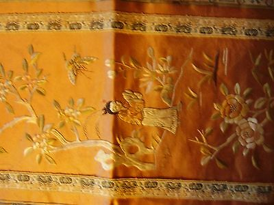 Chinese silk embroidered wall hanging