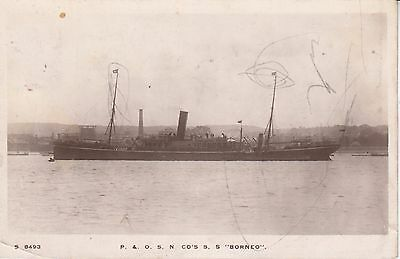 1912 postcard of P  and O steamer Borneo paquebot from Malta to Stafford