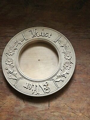 1 Antique hand carved wooden dish for butter or cheese decorated with flowers