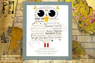 Personalised Owl Nursery Teacher Thank You Picture Print Gift Leaving Present