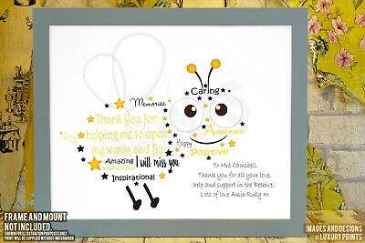 Personalised Bumble Bee Teacher Thank You Picture Print Gift Nursery Present