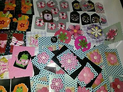 *surprise* Over 20 Mixed Pack Of Toppers Craft Cardmaking Wooden Flowers Joblot
