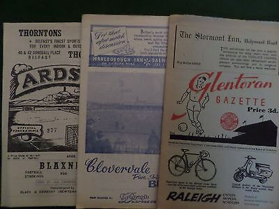 3 x Irish League programmes, early 60's all listed