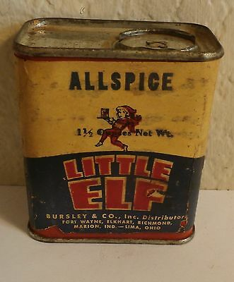 Vintage LITTLE ELF Spice Tin Can Paper Covering Allspice Bursley&Co Ft Wayne IN