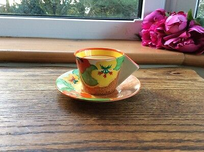 Beautiful Bizarre by Clarice Cliff Art Deco Cup & Saucer Nasturtium Pattern vgc