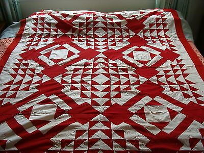 Antique ~ Vintage Quilt Top ~ 1890 - 1910 ~ Red and White ~ Dramatic