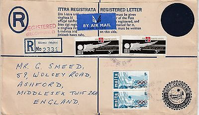 1976 REGISTERED AIRMAIL to UK with blue seal and 4 extra stamps