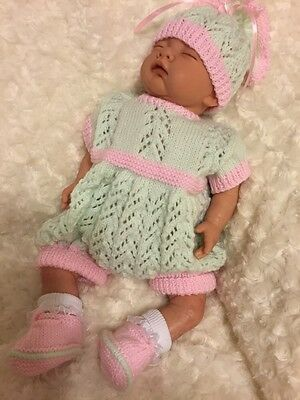 """New: Cute 4 Piece Knitted Outfit For 20"""" Reborn Baby Girl"""