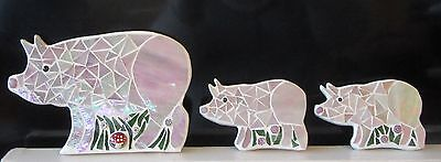 Stained Glass Mosaic PIG and 2 PIGLETS, Handmade
