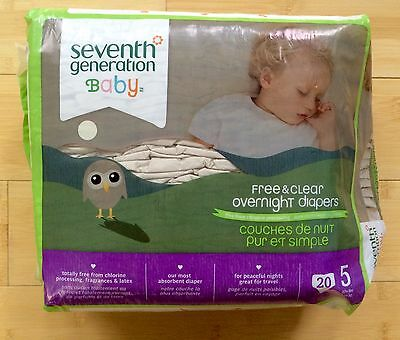 Seventh Generation sz 5 (27+ lbs.) Free & Clear Overnight Diapers 18 count