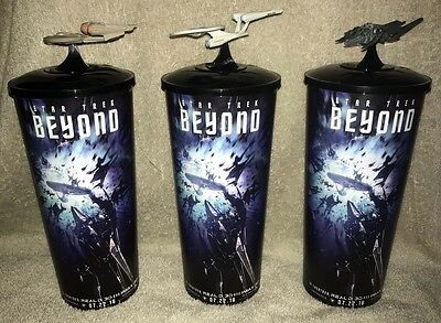 Chris Pine STAR TREK BEYOND Zachary Quinto set of 3 cups with ship toppers