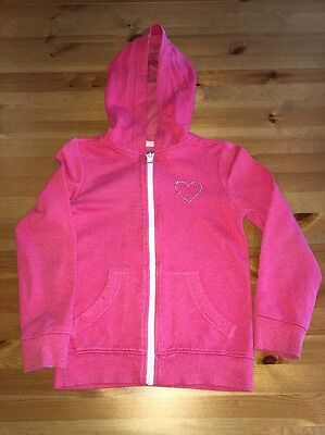 Girls Pink Pink Zipped Hoodie with Sparkles Age 7-8