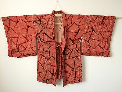 Silk authentic vintage Japanese red Haori jacket for Kimono, with himo (E697)