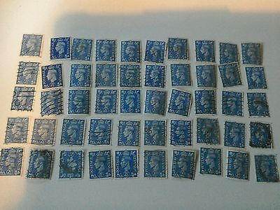 king george VI stamps. 50 in total. used. postage revenue 2 12d blue