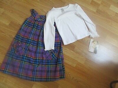 NWT YOUNGLAND Size 6X 2-Piece Set--Plaid Jumper and White Long Sleeve Shirt