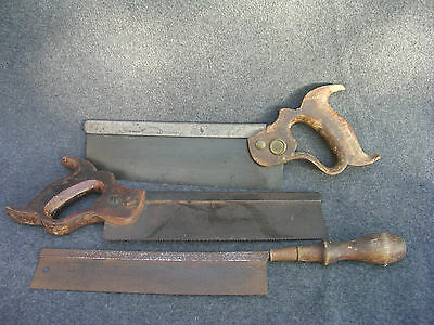 Lot of 3 Vintage Back/Tenon Saws 1 Disston and 2 un-named