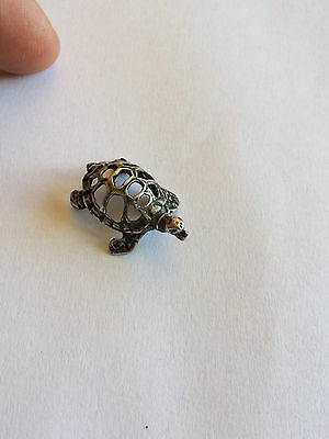 ANTIQUE solid silver 800 miniature turtle !