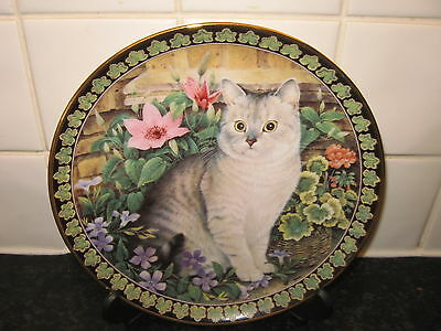 Cats Among The Flowers  Plate  - Colin In Periwinkle   -Danbury Mint
