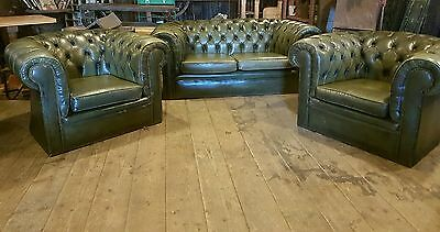 vintage green chesterfield suite sofa and 2 chairs DELIVERY AVAILABLE