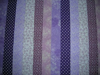 """12 Jelly Roll Strips Purple/lilac   44"""" X 2.5""""  100% Cotton Patchwork/quilt Pal"""