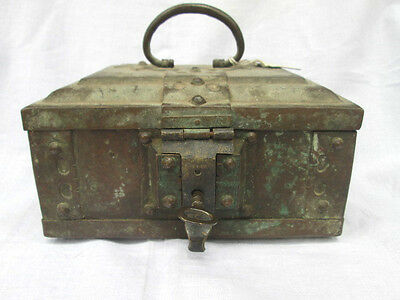 antique vintage old brass hand-made multi purpose jewellery trinket box with key