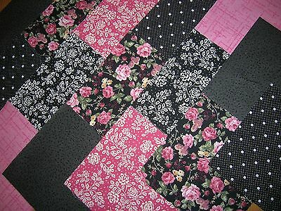 """48 x 4"""" CHARM PACK PINK & BLACK  100% COTTON PATCHWORK/QUILTING/CRAFTS AUCF"""
